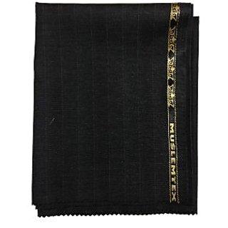 Men's Suitings Poly Blend Black Color Lines Pant Piece