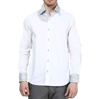 Dazzio Club Wear White Full Sleeves Casual Shirts For MenS DZSH0105