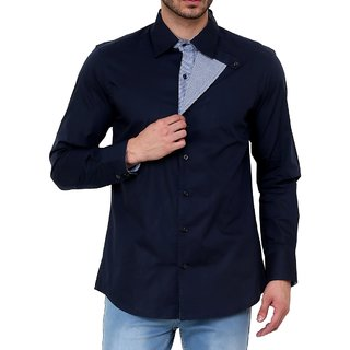 Dazzio Club Wear Blue Full Sleeves Casual Shirts For MenS DZSH0119