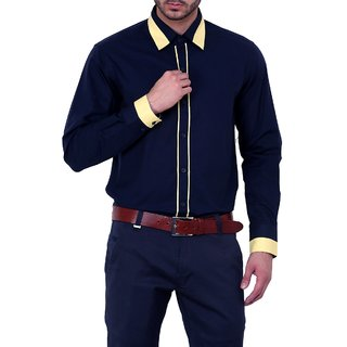 Dazzio Club Wear Blue Full Sleeves Casual Shirts For MenS DZSH0120