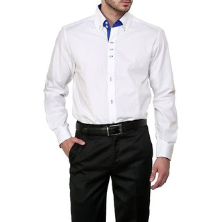 Dazzio Club Wear White Full Sleeves Casual Shirts For MenS DZSH0122