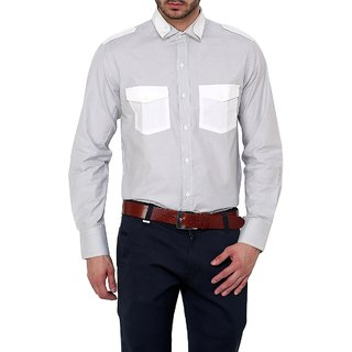 Dazzio Club Wear Grey Full Sleeves Casual Shirts For MenS DZSH0123