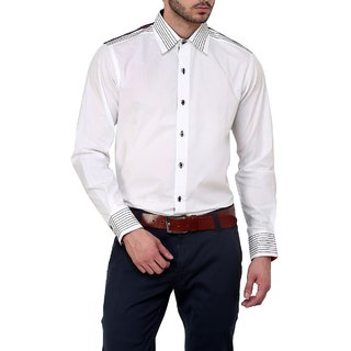 Dazzio Club Wear White Full Sleeves Casual Shirts For MenS DZSH0127