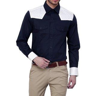 Dazzio Club Wear Blue Full Sleeves Casual Shirts For MenS DZSH0131