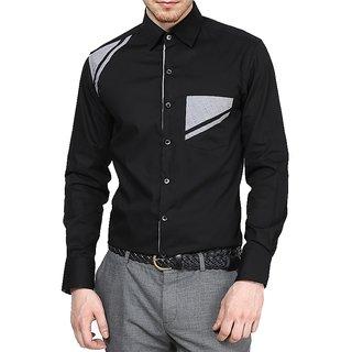 Dazzio Club Wear Black Full Sleeves Casual Shirts For MenS ...