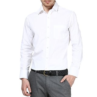 Dazzio Club Wear White Full Sleeves Casual Shirts For MenS DZSH0083