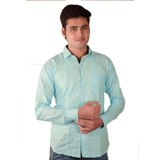 Fuego Aqua Cotton Full Sleeves Slim Fit Casual Shirt For Mens FG-SKY-SHRT