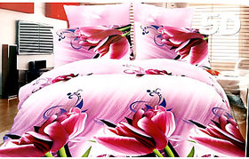 Tulaasi multiColor Floral 3d SANDS SPRING STORY Double Bed Sheets with Pillow