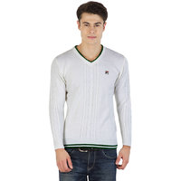 Fila Mens White and Green Long Sleeve Sweaters