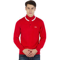 Fila Mens Red and White Long Sleeve Sweaters