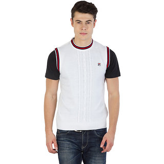 Fila Mens White,Black and Red Sleeveless Sweaters