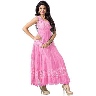 Clickedia Womens Cotton Dress Material (Kurti Baby Pink AnarkaliPink)