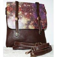 STYLISH PU LEATHER SLING BAG(BROWN)