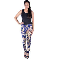 FLORAL PRINTED COTTON LYCRA  LEGGINGS in BLUE AND CREAM