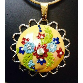 Polymer Clay Pendant in Light Yellow