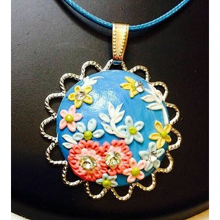 Polymer Clay Pendant in Bright Blue