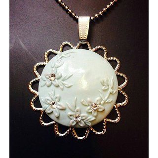 Polymer Clay Pendant in Light Blue
