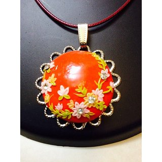 Polymer Clay Pendant in Bright Red