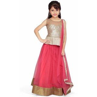 Creativewilla new fancy pink  10-12y girls lenghacholi with blouse meterials