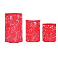 Sutra Decor Set Of 3 Red Candle Holder