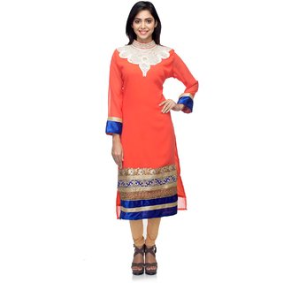 GZ Collections Peach Georgette Kurti
