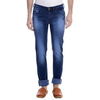 Swizz Mens Washed Effect Dark Blue Slim Fit Jeans