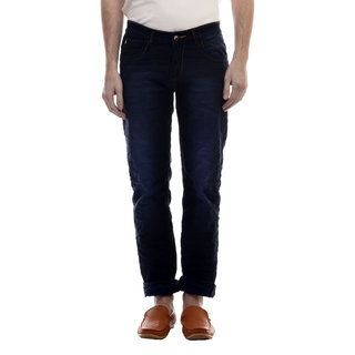 Swizz Mens Dark Blue Washed Effect Slim Fit Jeans
