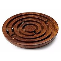 Kartique Hand Made Round Labyrinth Maze Wooden Toys Brain Teaser Puzzle Game