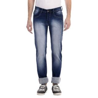Swizz Mens Dark Blue Slim Fit  Washed Effect Jeans