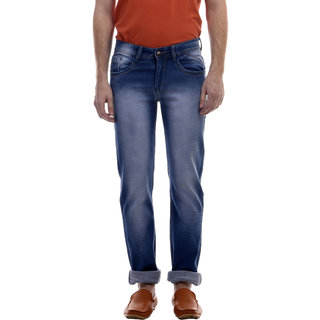 Swizz Mens Light Blue Washed Effect Slim Fit Jeans