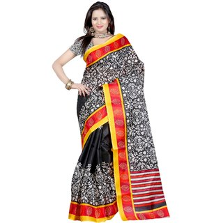 Casa Joya Multicolor Dupion Silk Printed Saree With Blouse