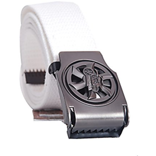 Oril Casual Buckle White Belt for Men
