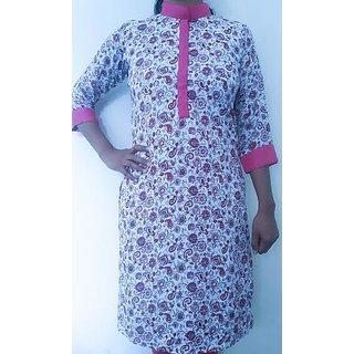 Elegantly Crafted Nehru Collar Beautiful Floral Dress Material Pakistan Kurti