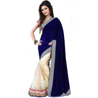 GC Sarees Plain Velvet  Net Blue Saree