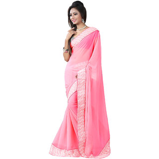 GC Sarees Plain Pink Georgette Saree