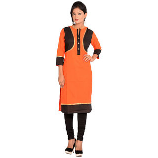 Vasavi Premium Quality Orange Colour Jaipur Cotton Kurti