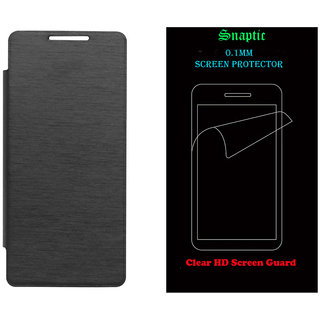 Snaptic Black Flip for Micromax Canvas Knight A350 with Screen Guard