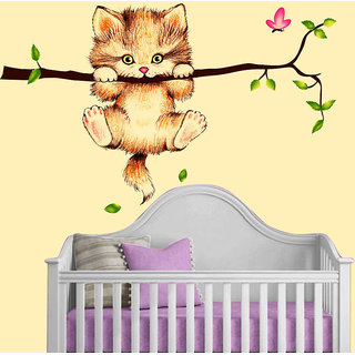 New Way Multicolour PVC Vinyl Abstract 'Little Catty on Branch' Wall Sticker (60 cm x 45 cm)