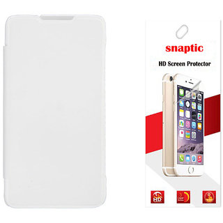 Snaptic White Flip for Micromax Canvas Knight A350 with Screen Guard