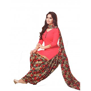 Women Shoppee Colorful Patiala with GOLDEN Laces - Synthetic Dress Material