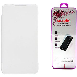 Snaptic White Flip Cover for Micromax Canvas Nitro A311 with Tempered Glass