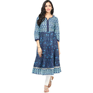 Motif Women Blue Cotton Anarkali