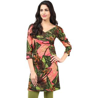 Motif Women Green Polyester,Crepe Kurta