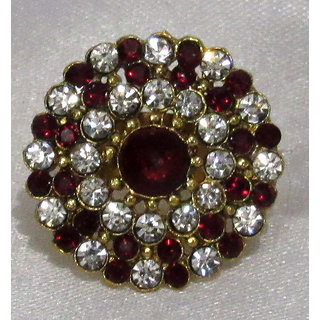 Maroon and White stone ring