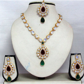 b15ad297fa4b3 Nice Maroon and Green Kundan necklace set