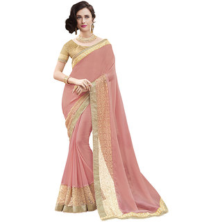 Indian Women Georgette Pink Color Saree