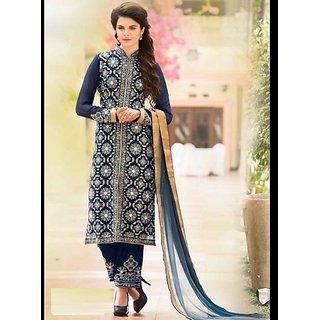 Blue Velvet Designer Embroidery Suit