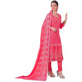 Manvaa Pink Embroidered Chiffon Salwar Suit Dress Material