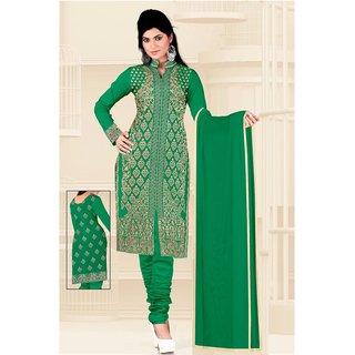 Manvaa Green Heavy Border Georgette Chudidar Dress Material