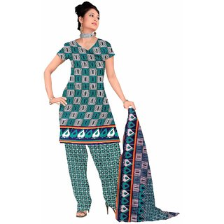Manvaa Multicolour Printed Cotton Straight Dress Material